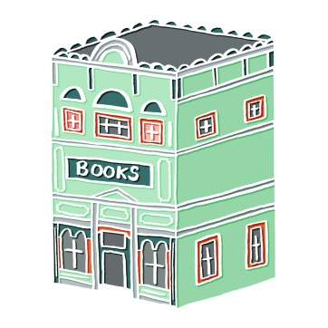 Little Book Shop - hand-drawn and digitally coloured.